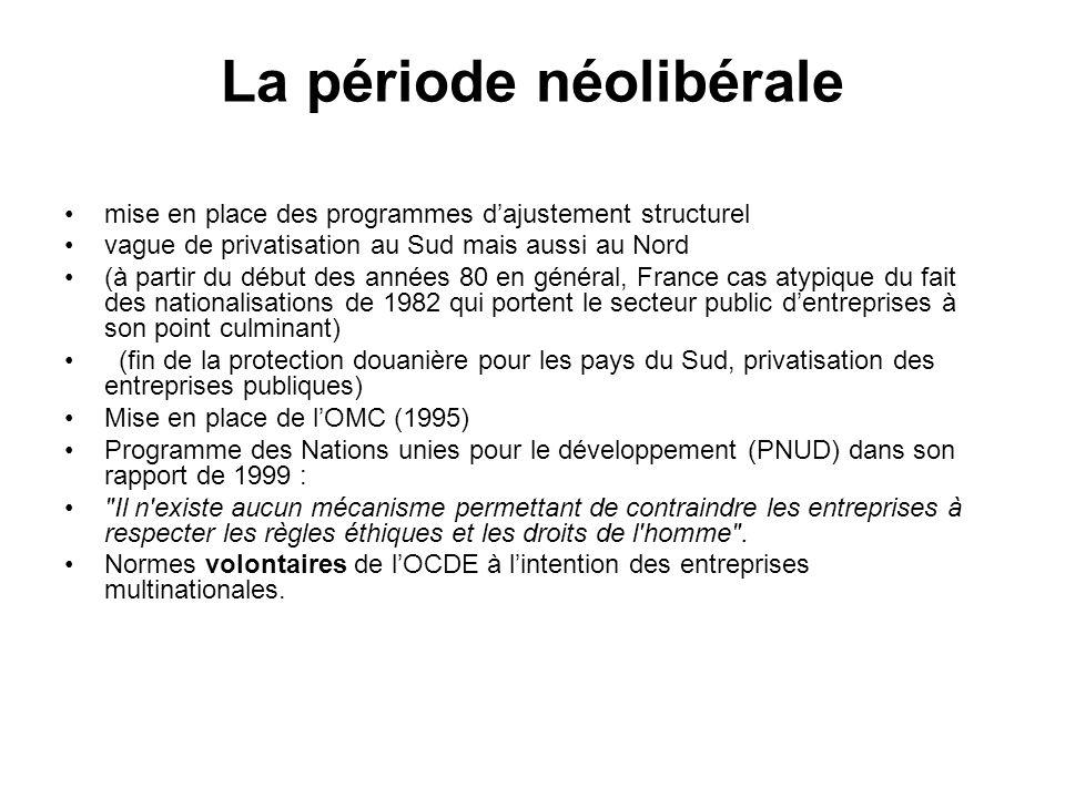 La période néolibérale
