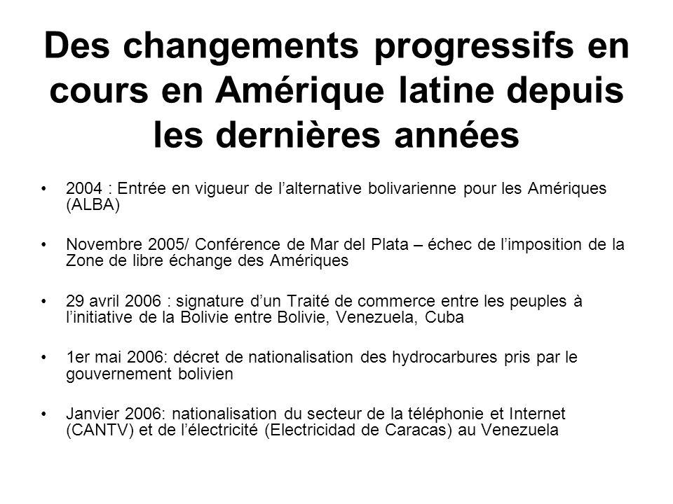 Des changements progressifs en cours en Amérique latine depuis les dernières années