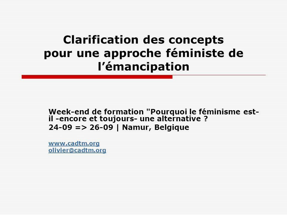 Clarification des concepts pour une approche féministe de l'émancipation