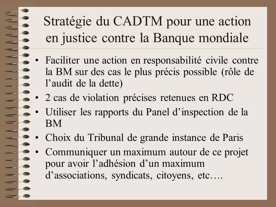 Stratégie du CADTM pour une action en justice contre la Banque mondiale