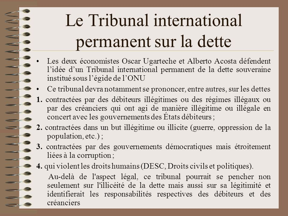 Le Tribunal international permanent sur la dette