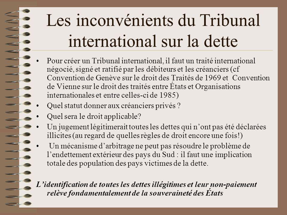 Les inconvénients du Tribunal international sur la dette