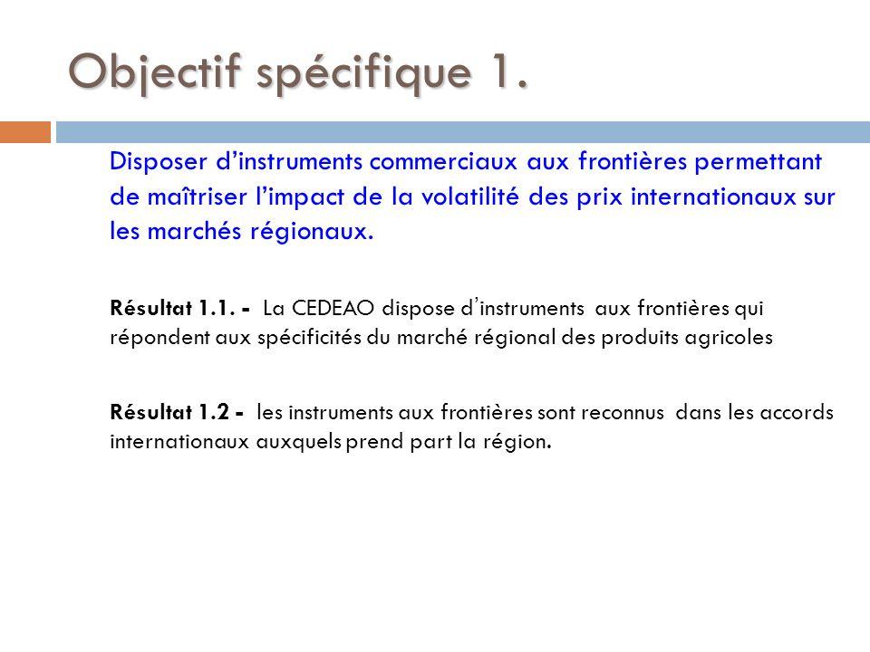 Objectif spécifique 1.