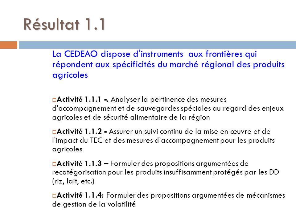 Résultat 1.1La CEDEAO dispose d'instruments aux frontières qui répondent aux spécificités du marché régional des produits agricoles.