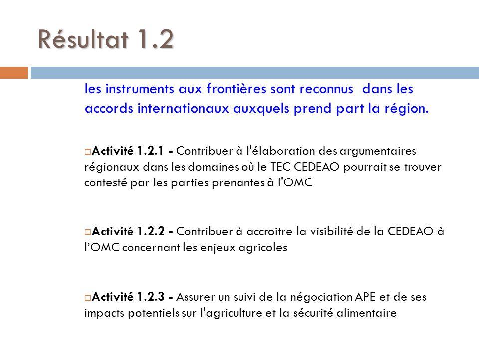 Résultat 1.2 les instruments aux frontières sont reconnus dans les accords internationaux auxquels prend part la région.