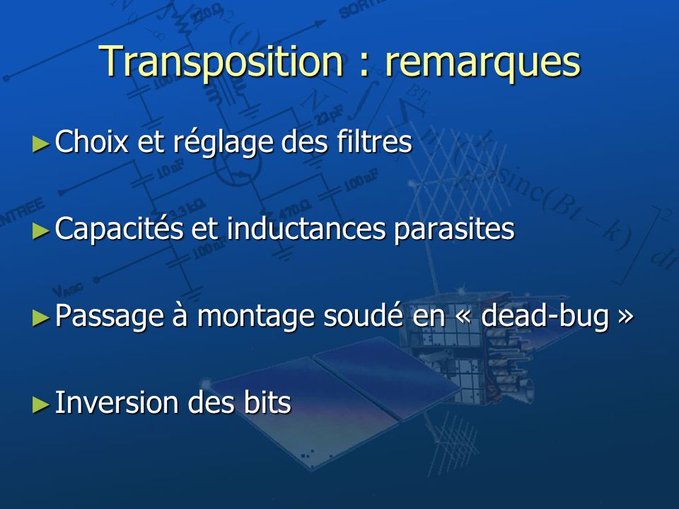 Transposition : remarques