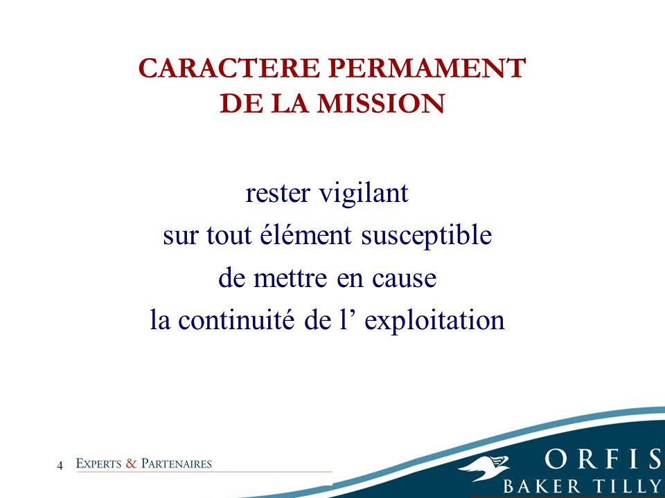 CARACTERE PERMAMENT DE LA MISSION