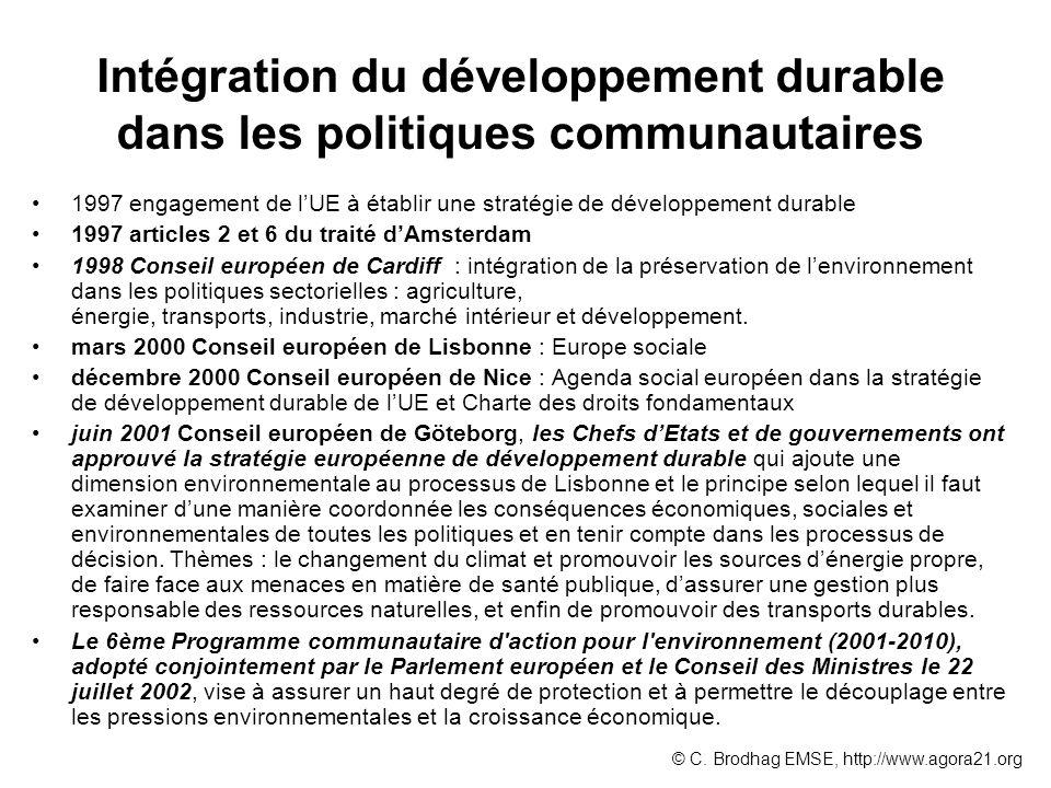Intégration du développement durable dans les politiques communautaires