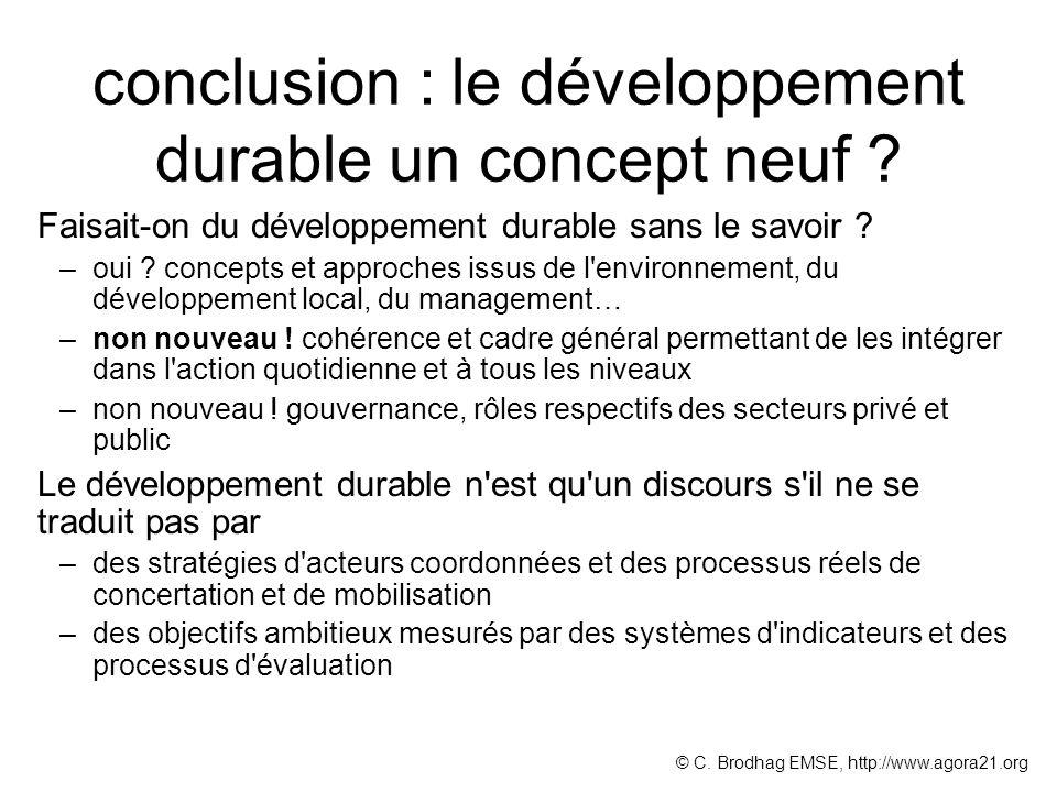 conclusion : le développement durable un concept neuf