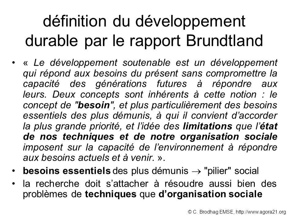définition du développement durable par le rapport Brundtland