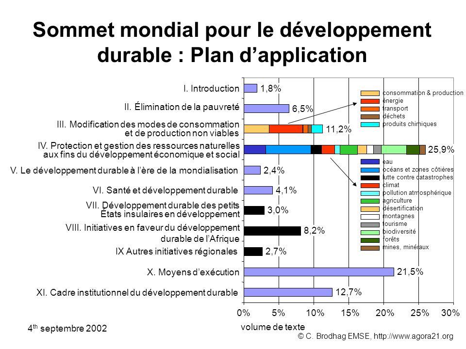 Sommet mondial pour le développement durable : Plan d'application