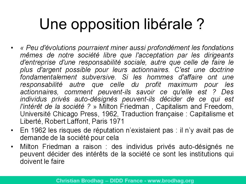 Une opposition libérale
