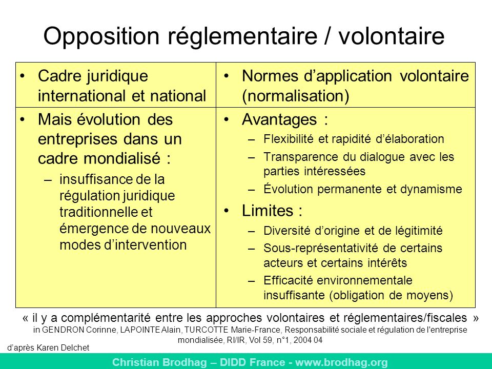 Opposition réglementaire / volontaire