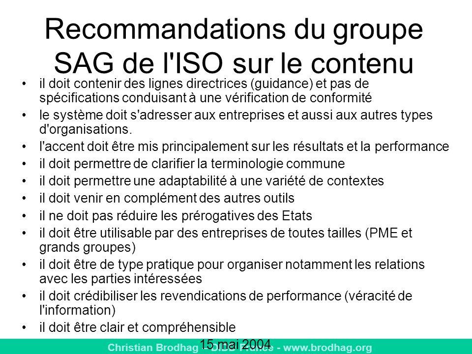 Recommandations du groupe SAG de l ISO sur le contenu