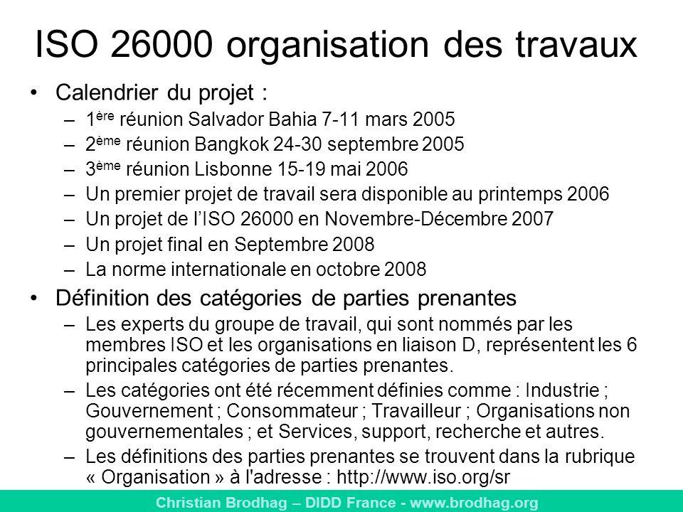 ISO 26000 organisation des travaux