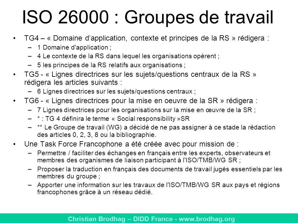 ISO 26000 : Groupes de travail