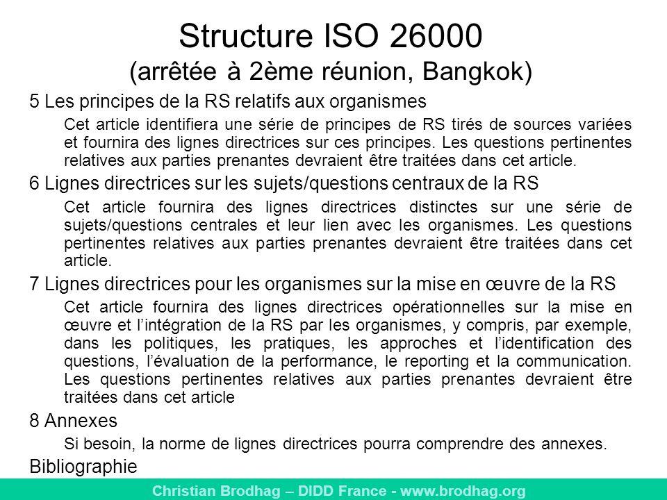 Structure ISO 26000 (arrêtée à 2ème réunion, Bangkok)