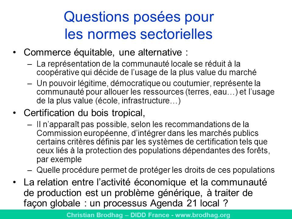 Questions posées pour les normes sectorielles