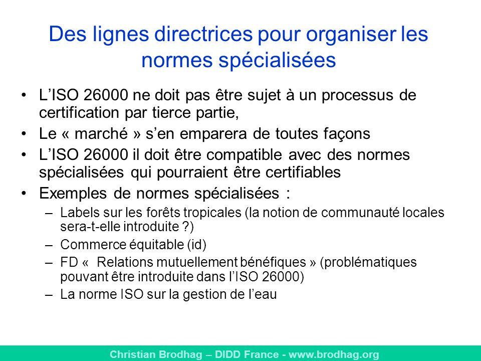 Des lignes directrices pour organiser les normes spécialisées