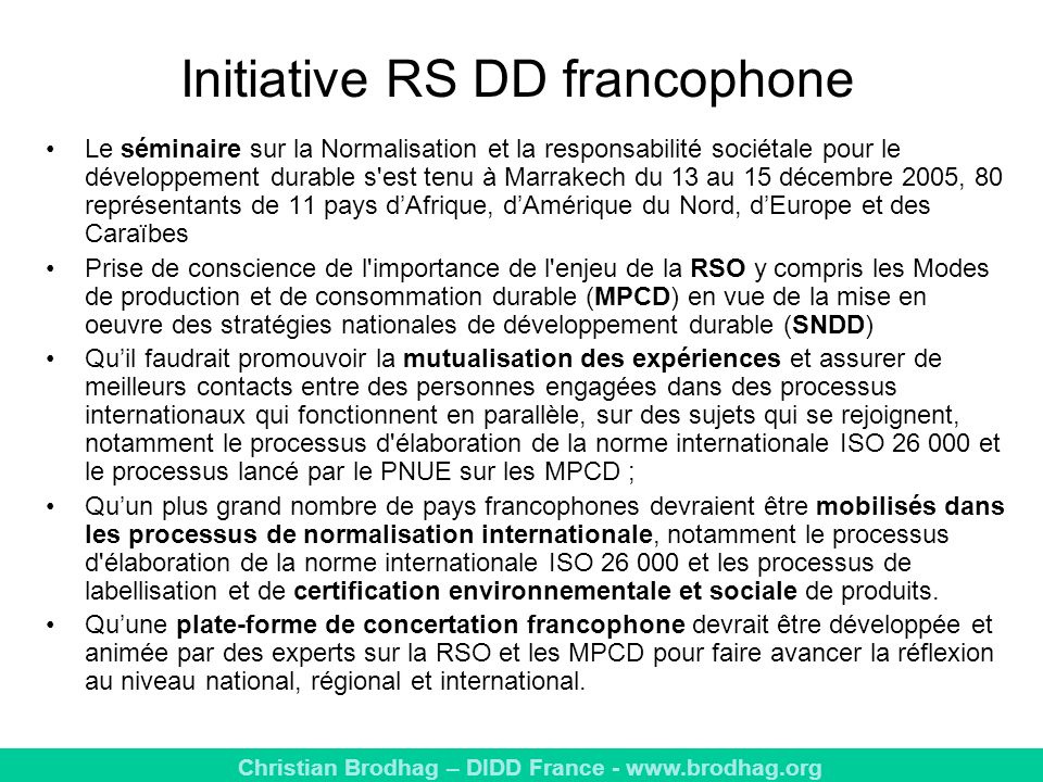 Initiative RS DD francophone