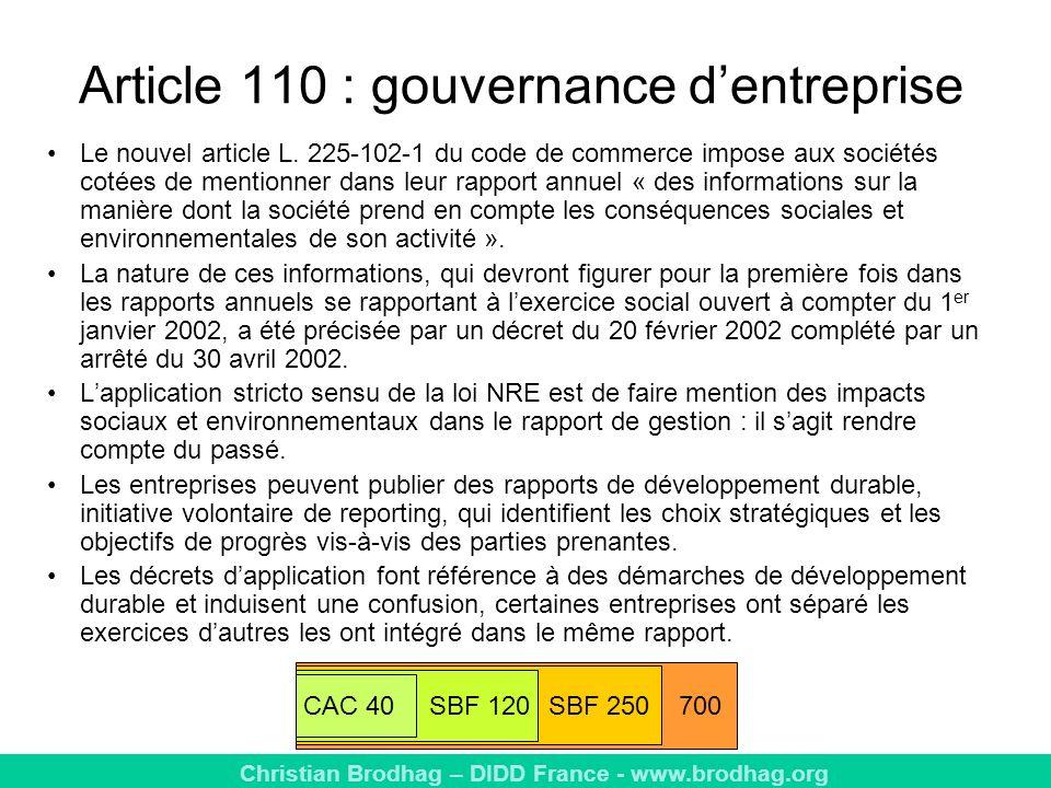 Article 110 : gouvernance d'entreprise