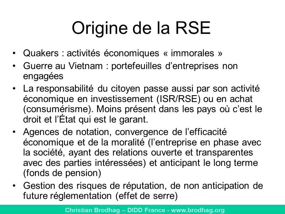 Origine de la RSE Quakers : activités économiques « immorales »