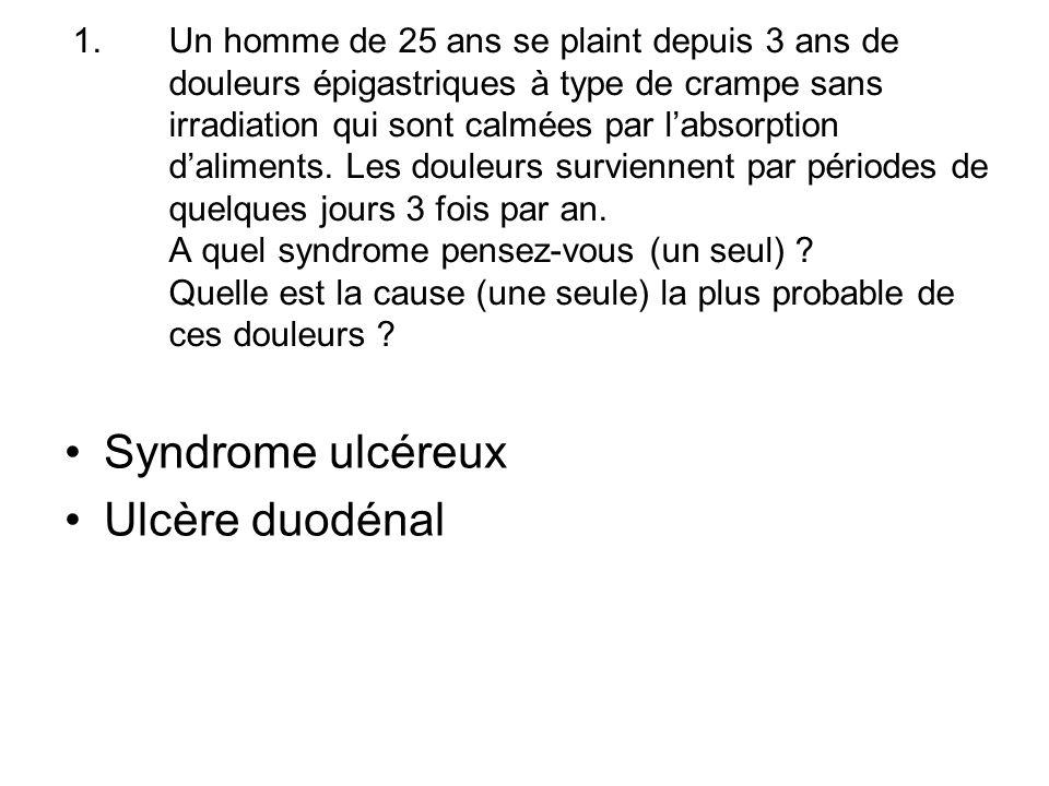 Syndrome ulcéreux Ulcère duodénal