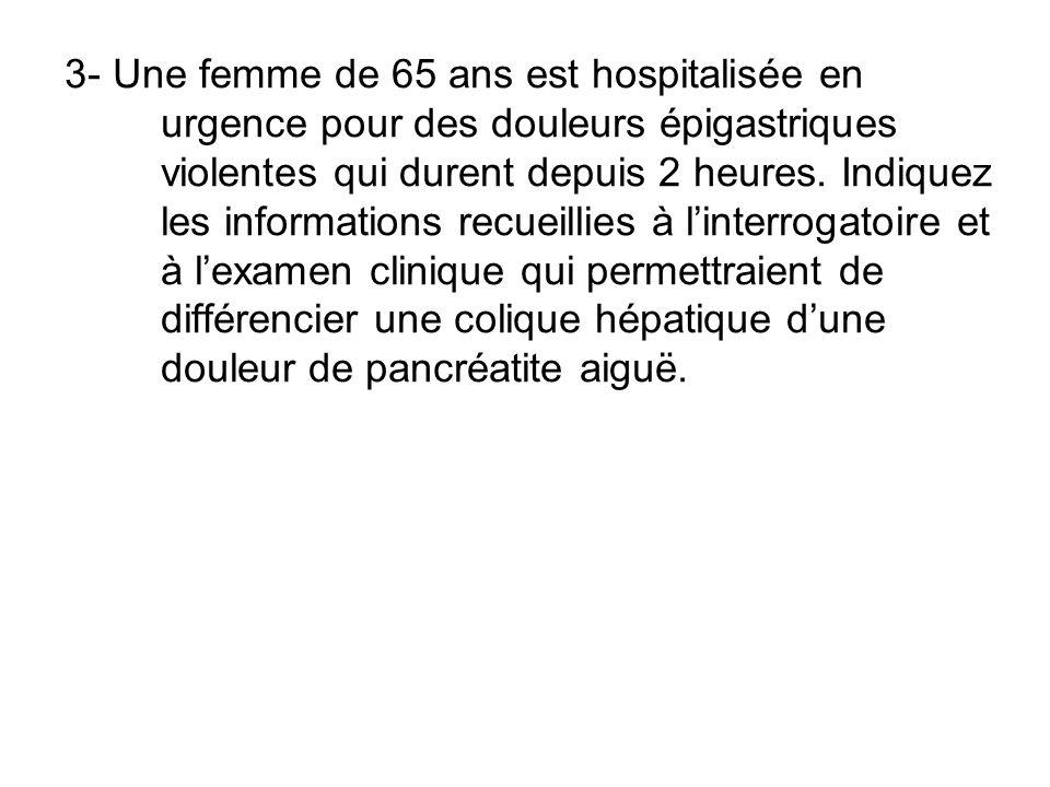 3- Une femme de 65 ans est hospitalisée en urgence pour des douleurs épigastriques violentes qui durent depuis 2 heures.