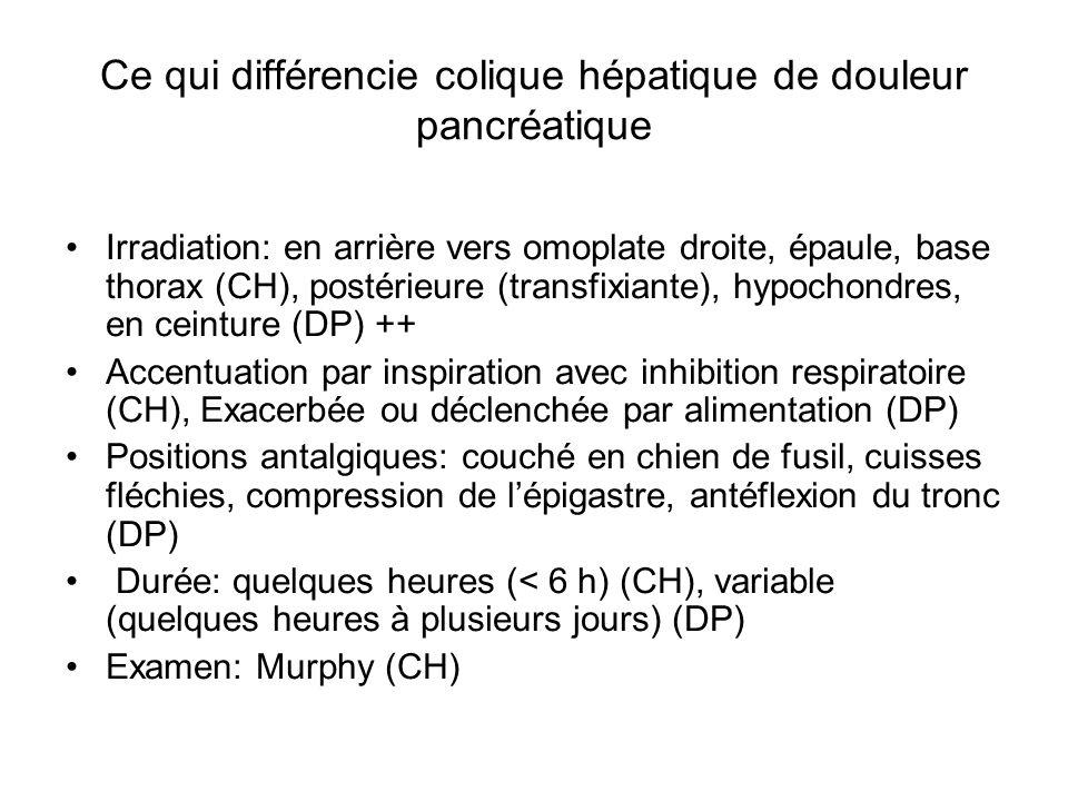 Ce qui différencie colique hépatique de douleur pancréatique