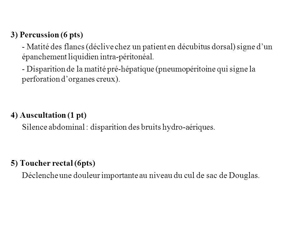 3) Percussion (6 pts) - Matité des flancs (déclive chez un patient en décubitus dorsal) signe d'un épanchement liquidien intra-péritonéal.