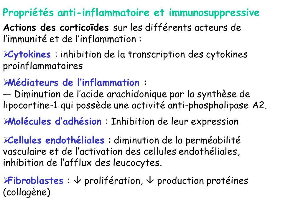 Propriétés anti-inflammatoire et immunosuppressive