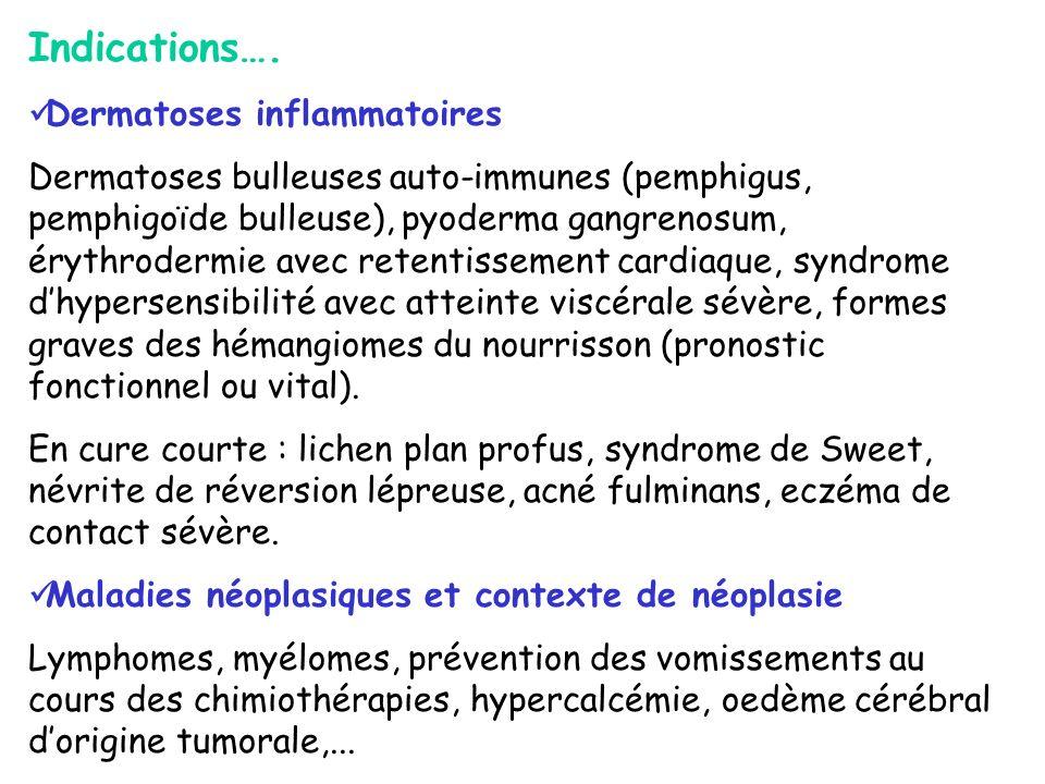 Indications…. Dermatoses inflammatoires