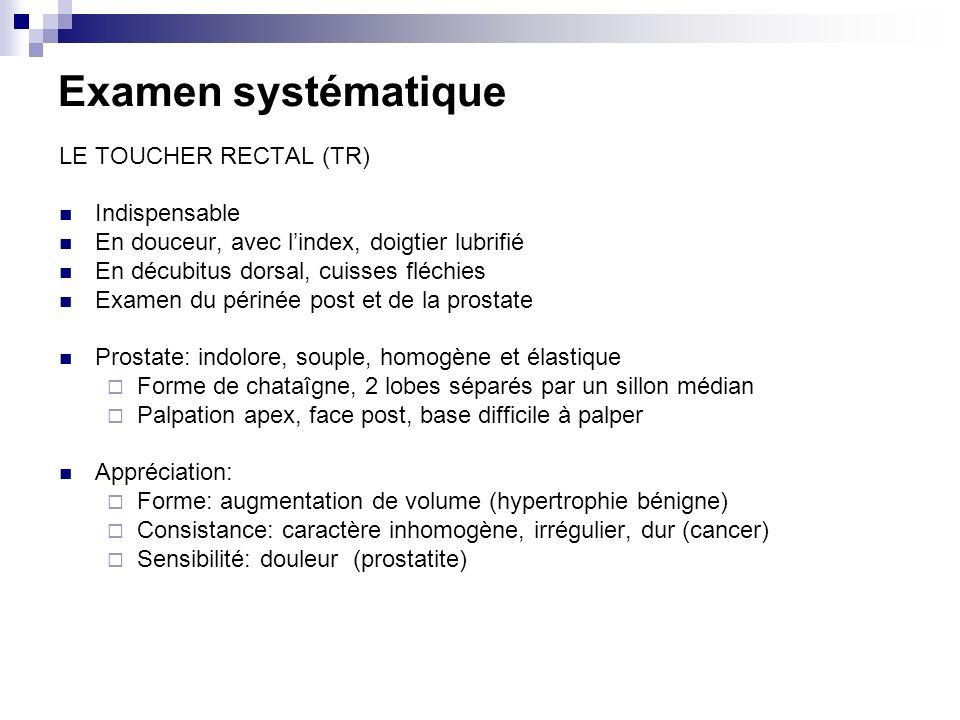 Examen systématique LE TOUCHER RECTAL (TR) Indispensable