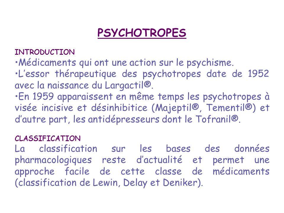 PSYCHOTROPES Médicaments qui ont une action sur le psychisme.