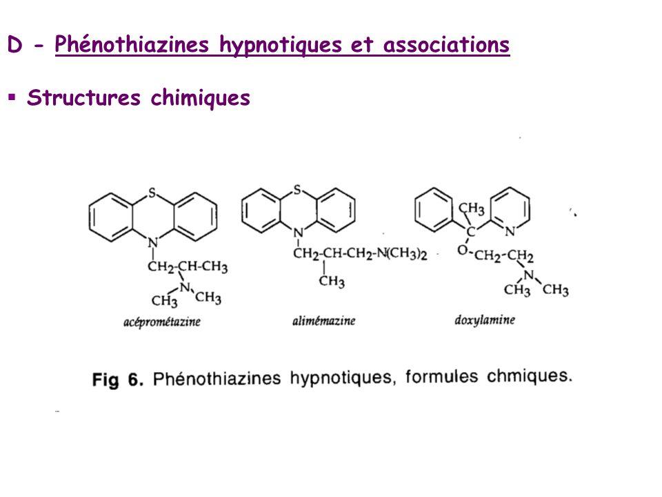 D - Phénothiazines hypnotiques et associations
