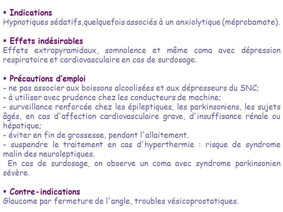 Indications Hypnotiques sédatifs,quelquefois associés à un anxiolytique (méprobamate). Effets indésirables.