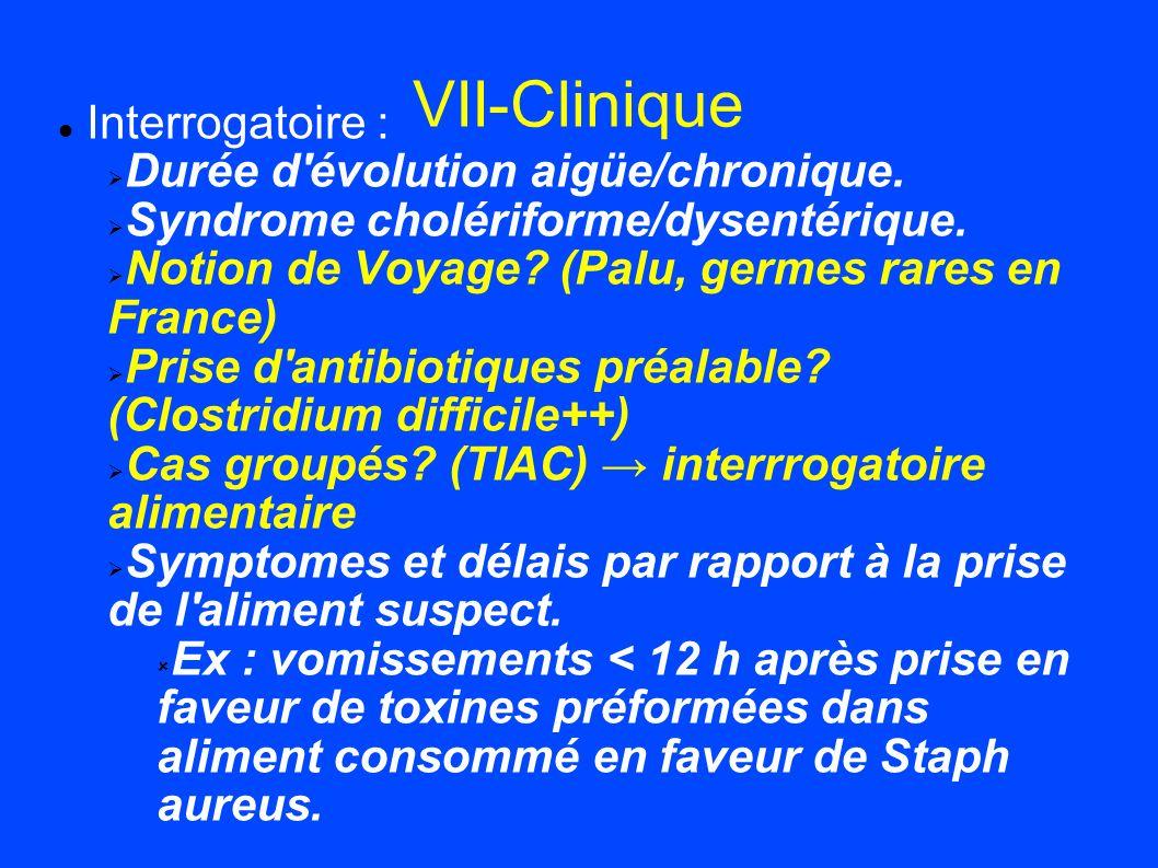 VII-Clinique Interrogatoire : Durée d évolution aigüe/chronique.
