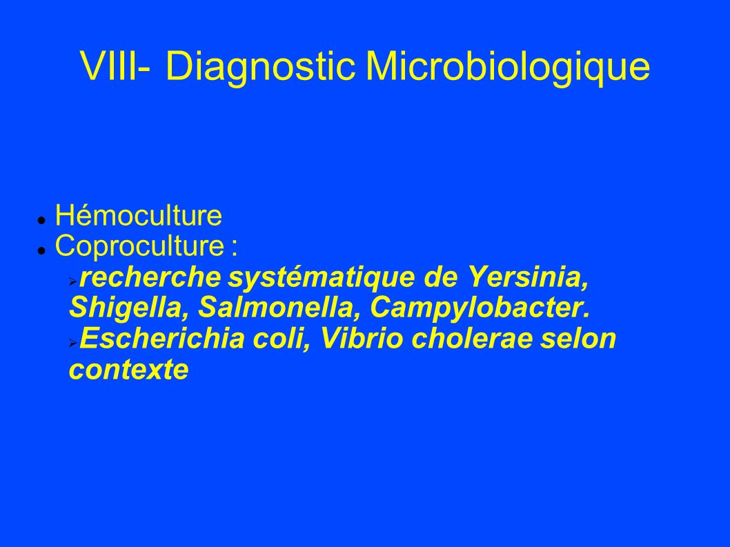 VIII- Diagnostic Microbiologique