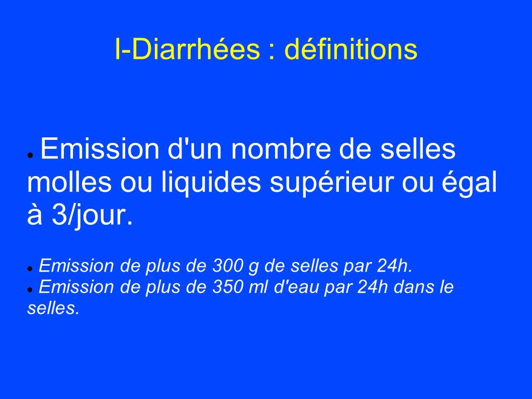 I-Diarrhées : définitions