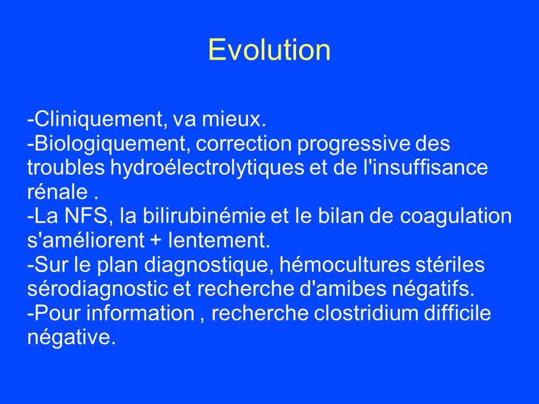 Evolution -Cliniquement, va mieux.