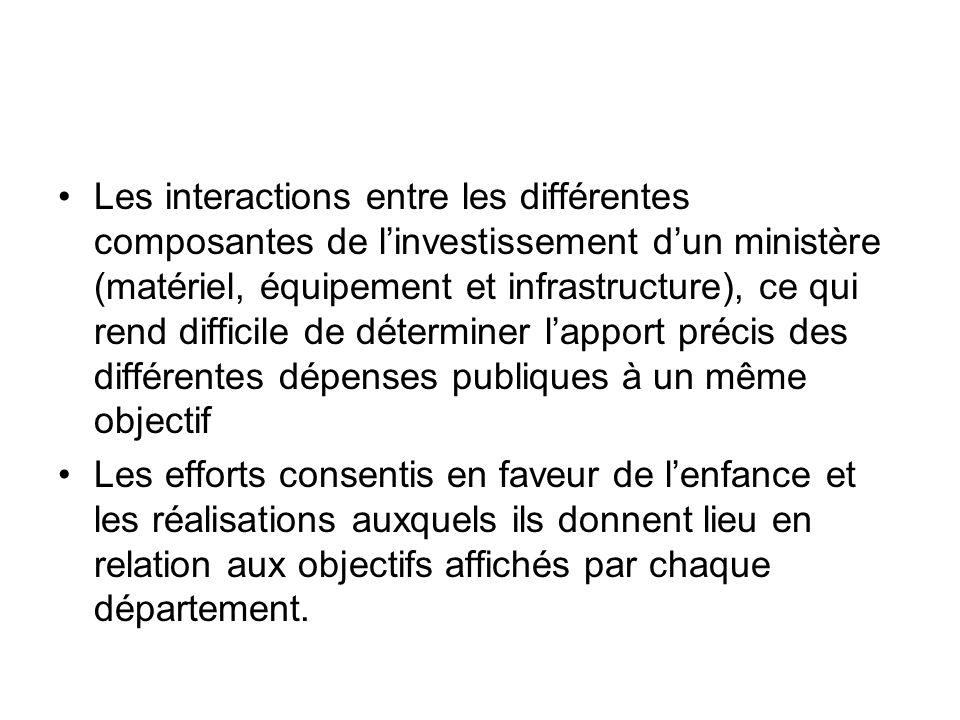 Les interactions entre les différentes composantes de l'investissement d'un ministère (matériel, équipement et infrastructure), ce qui rend difficile de déterminer l'apport précis des différentes dépenses publiques à un même objectif