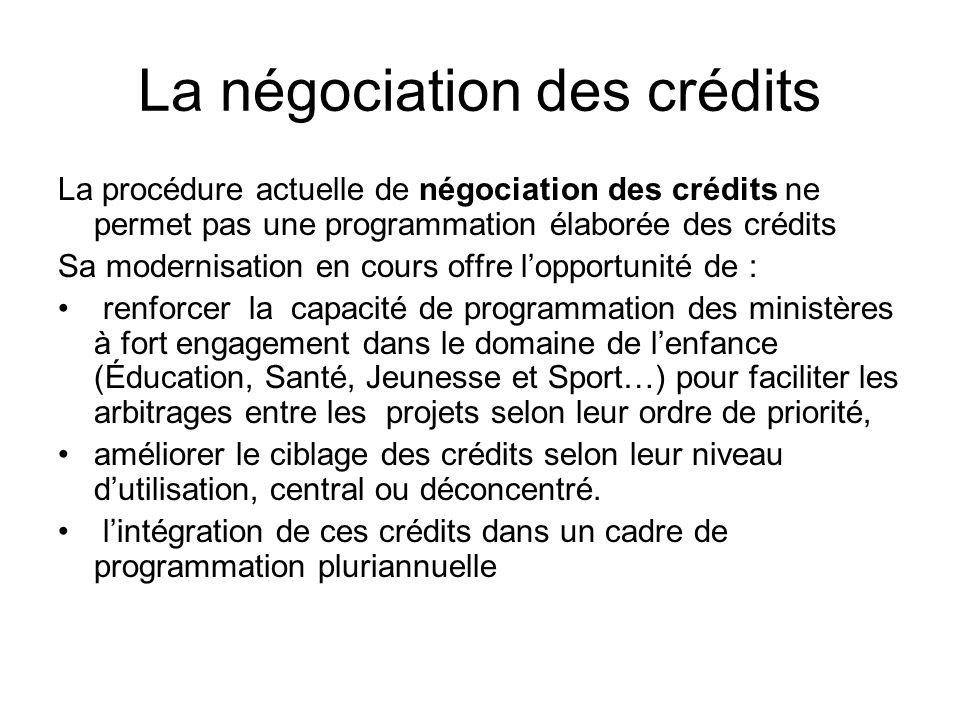 La négociation des crédits