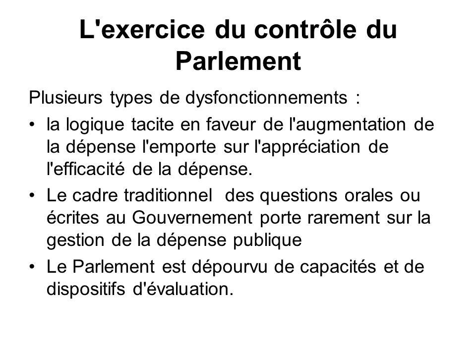 L exercice du contrôle du Parlement