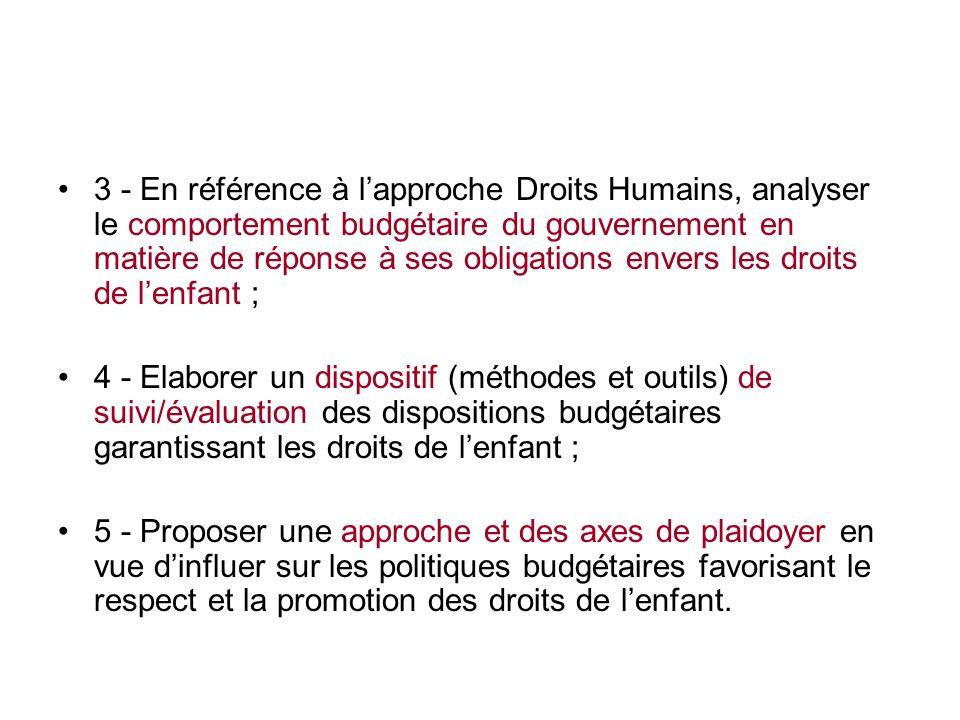 3 - En référence à l'approche Droits Humains, analyser le comportement budgétaire du gouvernement en matière de réponse à ses obligations envers les droits de l'enfant ;