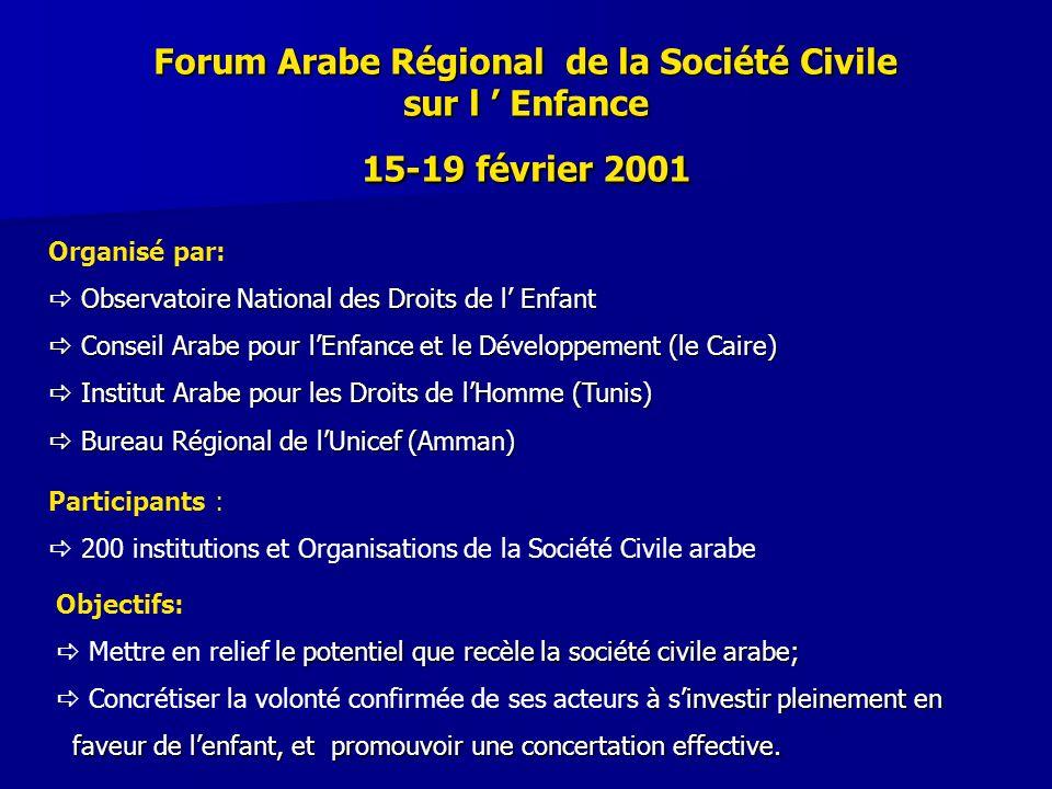 Forum Arabe Régional de la Société Civile sur l ' Enfance 15-19 février 2001