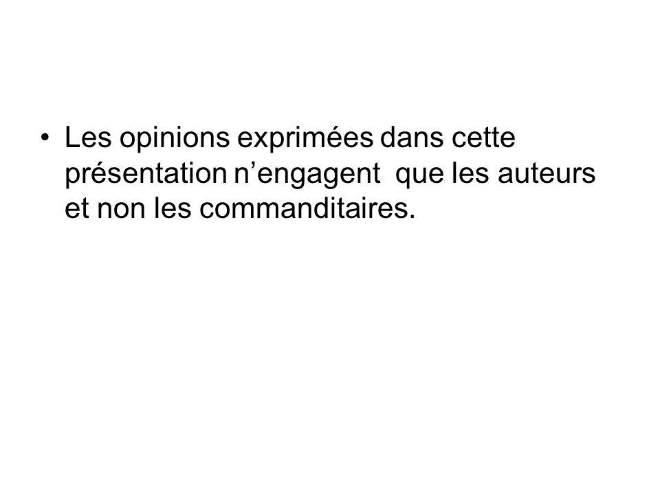 Les opinions exprimées dans cette présentation n'engagent que les auteurs et non les commanditaires.