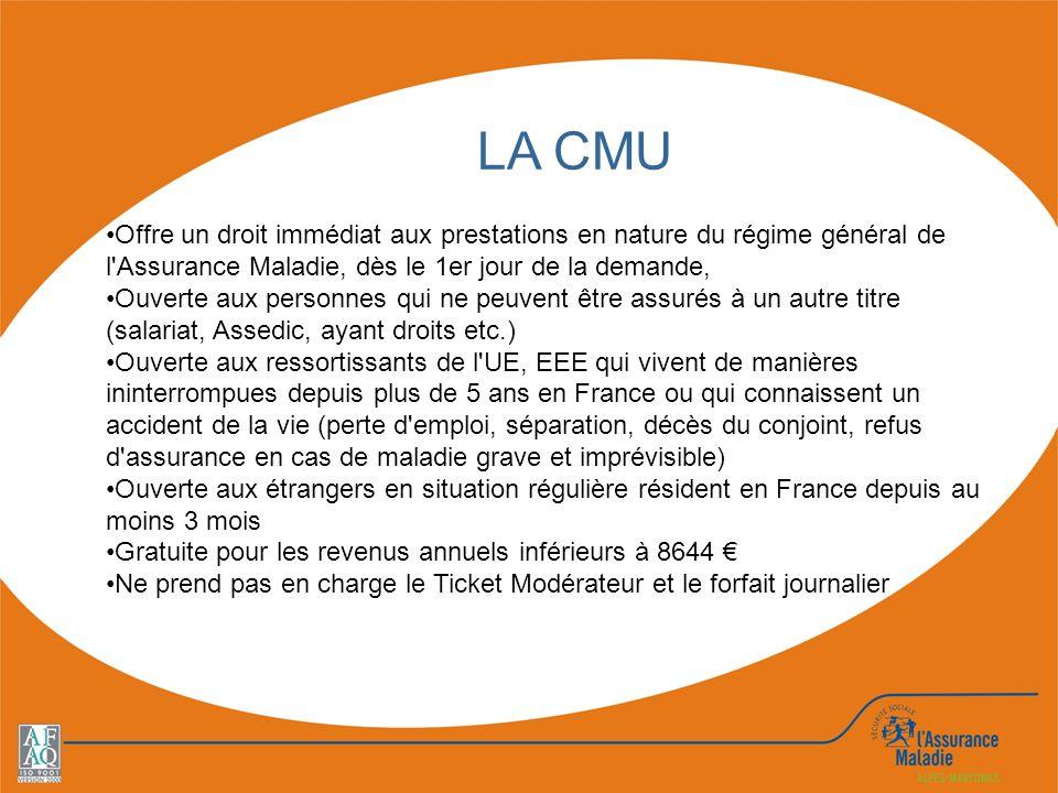 LA CMU Offre un droit immédiat aux prestations en nature du régime général de l Assurance Maladie, dès le 1er jour de la demande,