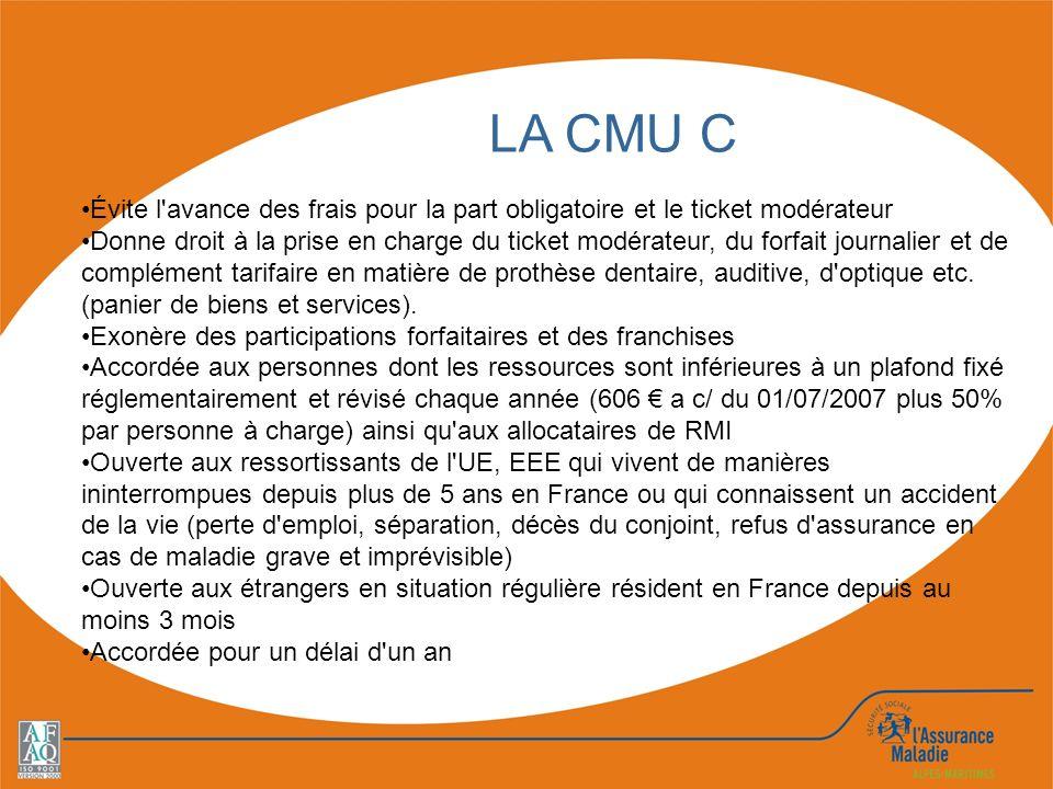 LA CMU C Évite l avance des frais pour la part obligatoire et le ticket modérateur.