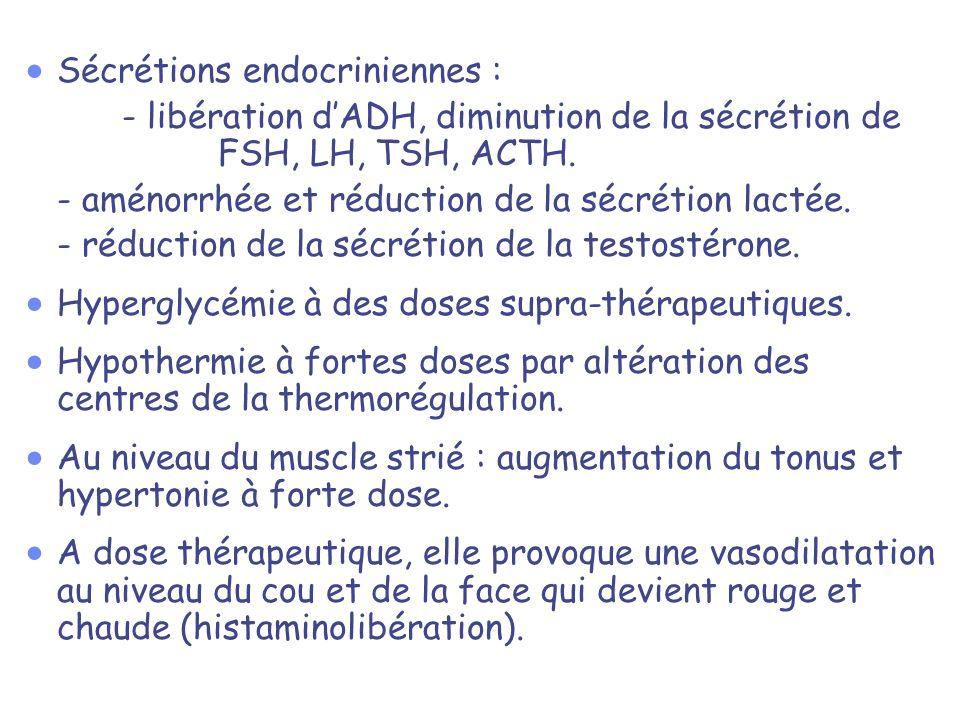 Sécrétions endocriniennes :