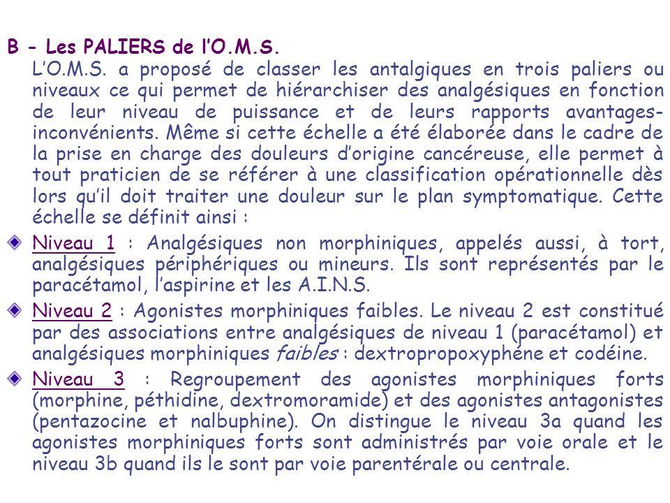 B - Les PALIERS de l'O.M.S.
